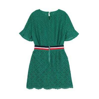vivid floral t-shirts & belt tape detail lace skirt green